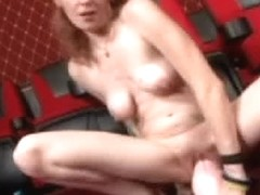 Teenage bimbo spreading her cunt to shove a big dildo