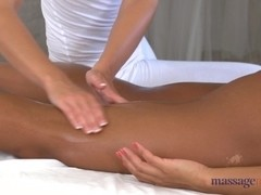 Lesbian ebony broad receives a professional massage