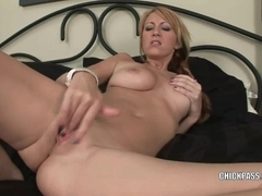 Breasty coed Addison Riley is finger banging her cunt