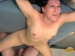 Drilling her shaved taut little beaver