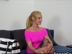 Blonde waitress takes cock in casting