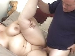 Chubby honey in corset eats dude meat then titty and vagina bonks