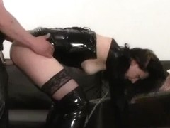 Free spandex porn movie with brunette dressed in latex