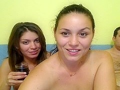 Corpulent Studs and Sexy Gals Web Camera Group Sex at Home