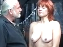 Older redheaded thrall with saggy mangos is whipped in hippy's basement