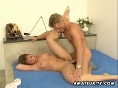 Youthful dilettante pair homemade act with facial