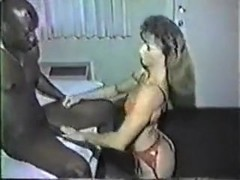 Slutty wife in sexy lingerie seduces black man.