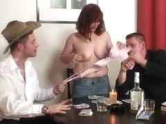 Old whore in nylons takes 2 dongs