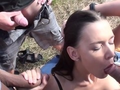 Titted brunette hair fuck hard in the face hole on the street