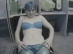 Blue haired webcam boobies in office