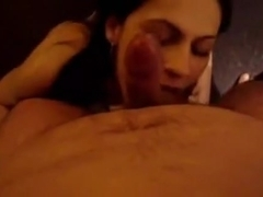 Alluring brunette hair wife can not control herself engulfing her husbands weenie up