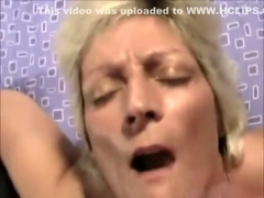 Blonde Cougar getting a Facial cumshot