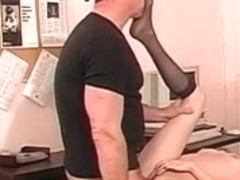 Ideal youthful hairless muff brunette hair receives her butthole screwed on office desk