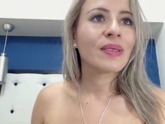 Blonde Hottie Puts On Lipstick And Strokes Her Slick Pussy