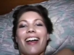 Moaning chick enjoying a sex tool