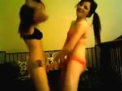 two hot emo chicks dancing in their underwear