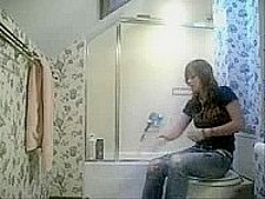 girl is caught changing in bathroom