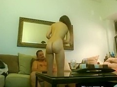 Non-Professional asian fucking a guy that chick met at a bar the living room