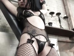 Bound BDSM sub facefucked by her master