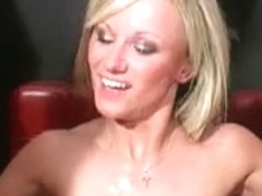 UK blond Barbie acquires bukkake facial cumshots