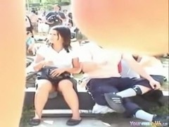 Voyeur tapes an chinese legal age teenager upskirt in the park