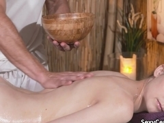 Hairy pussy slut fucked on massage table