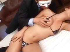 Arousing Jpanese chick gets wet pussy poked with finger