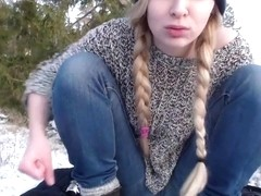 college girl Slut Playing Out In The Snow