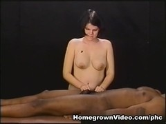 Paulette Gives Her Dude A Topless Tugjob