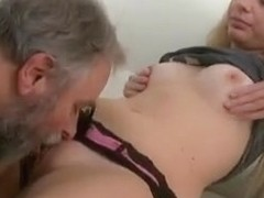 This old guy gets lucky with Jane when her boyfriend leaves the room for a while.