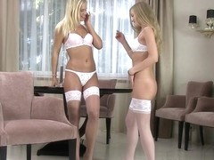 Noleta and Sicilia in HD Pissing Video Wet Stockings