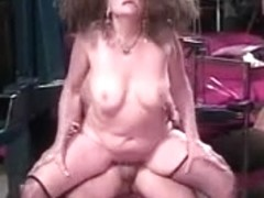 Old doxy acquires her twat licked by younger chap