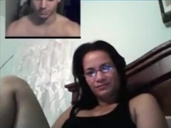 Nerdy girl gets tricked with a fake guy on skype and masturbates