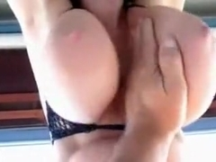 Just a vid of gently slapping my gfs large g cup hanging milk shakes