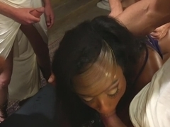 Nympho goddess whore taken down and gangbanged by Greek Council!