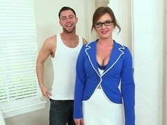Flight attendant with natural boobies
