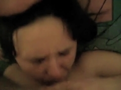 bulky short haired wife receives facial