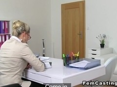Female agent with strap on toy blonde
