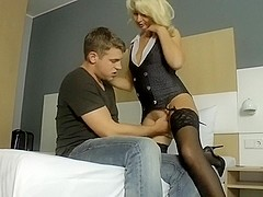 Blond German Mother I'd Like To Fuck meets with juvenile men at the hotel to let h...