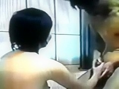 Asian dark brown hair babe in the washroom blows me during the time that her husband is at the work