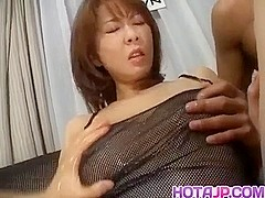 Ryo Hirase Asian doll in threesome gets felt up and banged