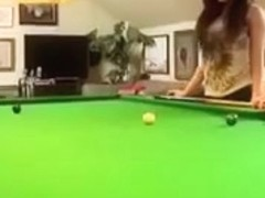 Ashley Emma Strips On The Snooker Table
