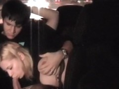 Blonde shows her passion on the taxi voyeur camera