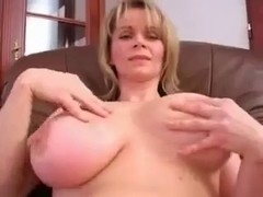 Breasty Blond Solo in Pink
