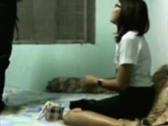 Voyeur sextape with a shy nerdy asian girl