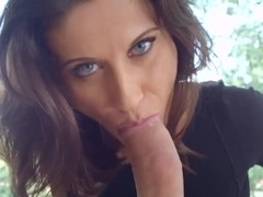Beautiful glamour girl Madlin Moon expanded her asshole with glass dildo and now sucking her fucke.