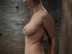 Hot Blond with PERFECT BODY, natural tits, severely bound, gagged and abusedAll on screen tying