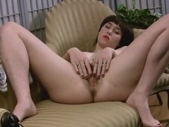 Natural hairy pussy model Barb spreads her lips