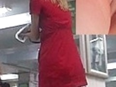 Lady in red upskirt