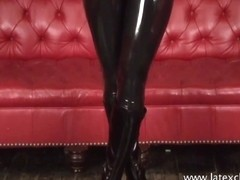 Sexy blonde fetish babe Alessandras latex wear and shiny rubber kink of booty sweetheart in softco.